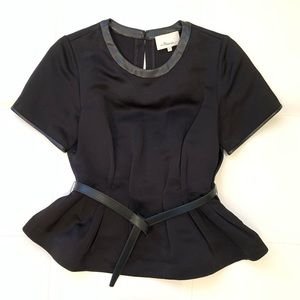 3.1 PHILLIP LIM Belted Leather Detailed Top Sz4